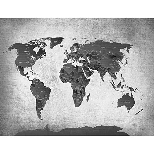 Fototapeten Weltkarte Schwarz Weiß 352 x 250 cm Vlies Wand Tapete Wohnzimmer Schlafzimmer Büro Flur Dekoration Wandbilder XXL Moderne Wanddeko - 100% MADE IN GERMANY - Runa Tapeten 9088011c