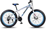 baozge 24 Speed Mountain Bikes 27 5 Inch Fat Tire Mountain Trail Bike High-carbon Steel Frame Men s Womens All Terrain Mountain Bike with Dual Disc Brake White