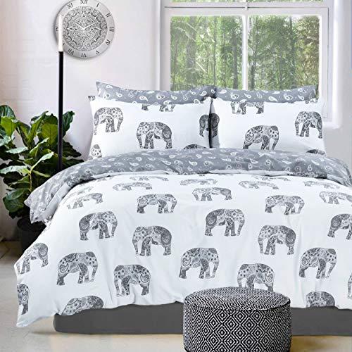 Sleepdown Just Contempo - Funda de edredón y Fundas de Almohada, diseño de Elefante, Color Gris