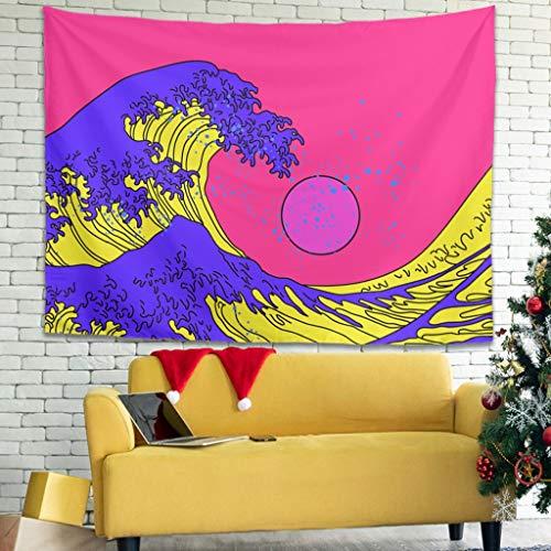 Elucassi Tapiz japonés Ukiyoe para colgar en la pared para el hogar, sala de estar, dormitorio, blanco, 231 x 149 cm