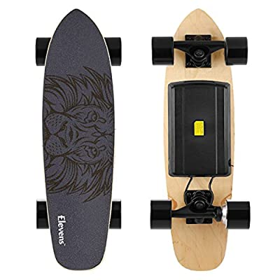 Elevens Electric Skateboard 10 MPH 10 Miles, 120W Motorized Electric Longboard Body Induction 28''