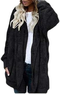 Macondoo Women Winter Fleece Sweatshirt Hoody Open Front Coat Jacket Cardigan with Pocket