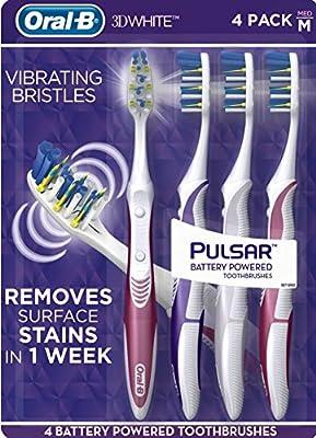 Oral-B Pulsar Battery Powered Vibrating Bristles Toothbrush, Soft, 4-Pack