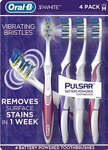 Oral-B Pulsar Vibrating Bristles Toothbrush, Medium, 4 Pack (Colors May Vary)