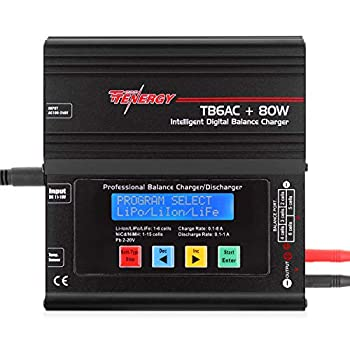 Tenergy TB6AC+80W Balance Charger Discharger 1S-6S IntelligentDigital Battery Pack Charger for NiMH/NiCd/Li-Po/Li-Fe Packs LCD RC Battery Charger w/ Tamiya/JST/EC3/HiTec/Deans Connectors