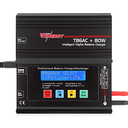 Tenergy TB6AC+80W Balance Charger Discharger, 1S-6S IntelligentDigital Battery Pack Charger for NiMH/NiCd/Li-Po/Li-Fe Packs, LCD RC Battery Charger w/ Tamiya/JST/EC3/HiTec/Deans Connectors