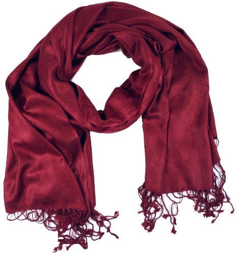 Guru-Shop Indischer Pashmina Schal/Stola, Herren/Damen, Bordeaux, Synthetisch, Size:One Size, 180x70 cm, Schals Alternative Bekleidung