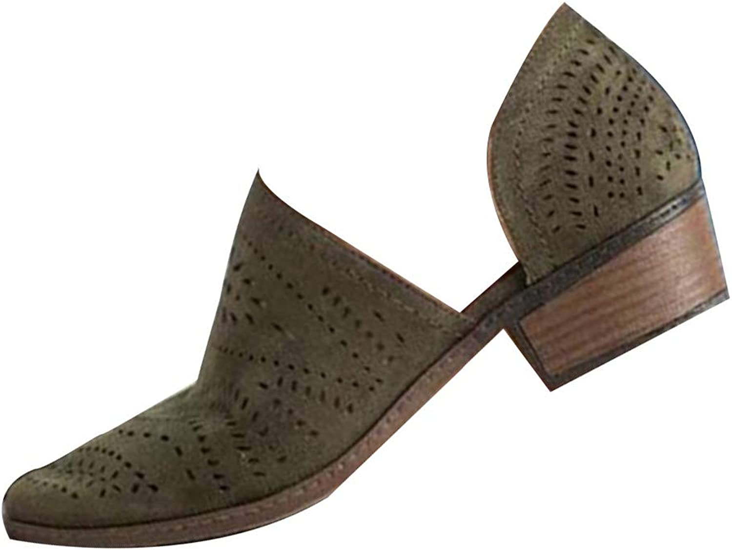 Huicai Women's Solid color Fashion Slim Low-Heeled shoes Office Casual Sandals