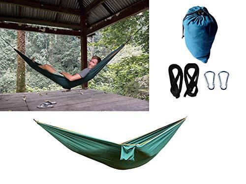 Globetrotterdammers Amaca portatile da viaggio paracadute in nylon per 2 persone, spiaggia, giardino, tempo libero, moschettoni da appendere e cinghie per alberi resistenti