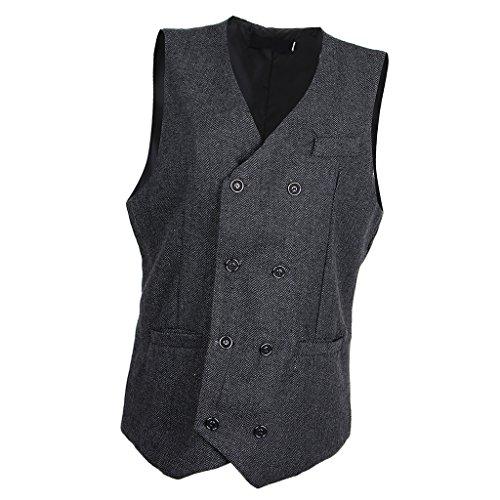 Hellery Herren Fischgrät Tweed Anzug Weste Slim Fit Weste Bräutigam Bräutigam Form Weste - Schwarz XL