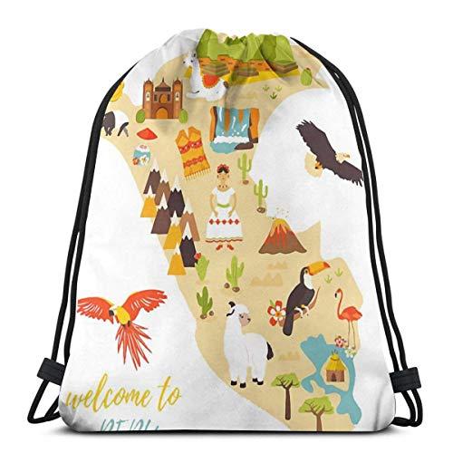LREFON Mochila con cordón para gimnasio, mochila con mapa de Perú, mochila para viajes, almacenamiento, organizador de zapatos, ahorro de botella de agua para niños