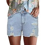 Shorts Vintage pour Femmes Denim délavé rétro Tendance Streetwear Tendance Trou déchiré Jeans décontractés à Jambes Larges L