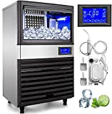 VEVOR 110V Commercial ice Maker 155LBS/24H with 44LBS Bin and Electric Water Drain Pump, Clear Cube, Stainless Steel Construction, Auto Operation, Include Water Filter 2 Scoops and Connection Hose