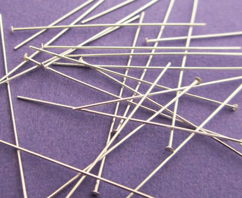 New 38mm 26ga 925 Sterling Silver Lightweight Flat Ended Headpins 24pcs