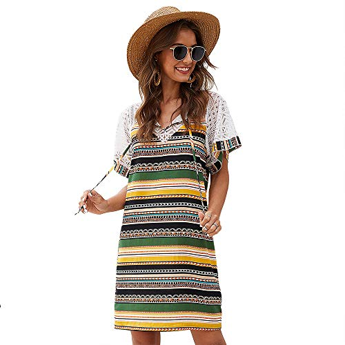 Woman Dress Europe and America Stripe Splicing Lace Hollow out National Style Short Sleeve Dress