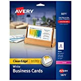 Avery Printable Business Cards, Laser Printers, 200 Cards, 2 x 3.5, Clean Edge (5871)...