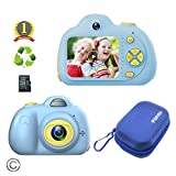 Feeyea Kids Camera for Kids with Carrying Case,Shockproof Mini Kids Camcorder with 2 Inch HD LCD Screen and 18 Million pixelsl Dual Lens,Blue(32GB TF Card Included)