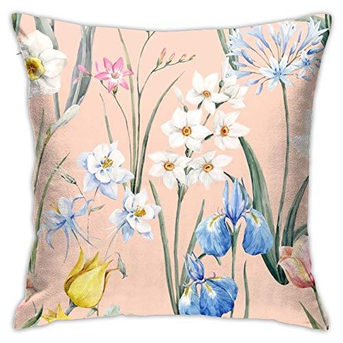Spring Tulip Flowers Narcissus Pink Freesia Blue Iris Aquilegia Leaf Fundas de Almohada Fundas de cojín Lindas Fundas de Almohada Sofá Decoración del hogar, 18x18in