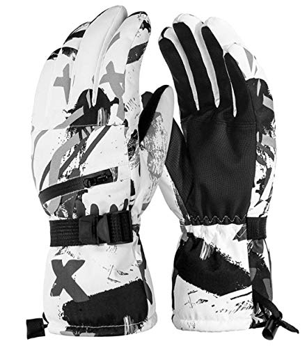 Global Park Gants de Ski Hiver Hommes Femmes Imperméables Mitaines de Neige Chaud Coupe-Vent Thermique écran Tactile Antidérapant Respirant pour Sport Plein Air Snowboard Skiing Moto (Blanc, L)