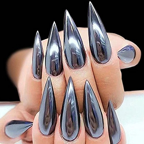 YesLady Nail Glitter Magic Mirror Black Powder 3D DIY Art Chrome Pigment Dust Manicure Tips Decoration 1g 2pcs