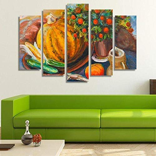 YFTNIPL Canvas Wall Art 80X150Cm Still Life With Pumpkin Hd Prints Image Stretched Framed Artwork Painting Picture 5 Pieces Canves For Home Bedroom Decoration