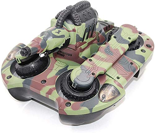 ZHANGL Water & Land 2 in 1 RC Boat Toy High Simulation Amphibious Tank with LED Light Shoot Water Toy Water Launch RC Toy Kid Best Gift