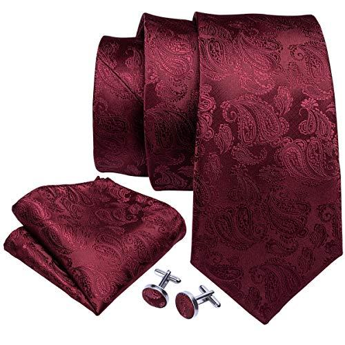 Barry.Wang Pañuelo de bolsillo de corbata de seda burdeos para hombre Corbata de Paisley con gemelos