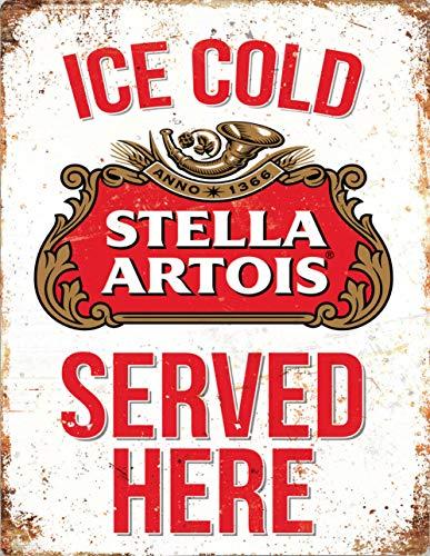 Placa de pared de publicidad vintage de 20 x 15 cm – Pub Shed Bar Man Cueva Casa Dormitorio Oficina Cocina Regalo – Stella Ice Cold Served Here