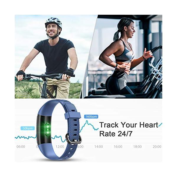 LETSCOM High End Fitness Trackers HR, IP68 Reloj de fitness impermeable con monitor de ritmo cardíaco, contador de pasos… 2