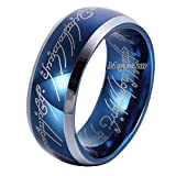 Moneekar Jewels 8mm Sapphire Blue Tungsten Carbide Ring Lord of The Rings Wedding Band for Men&Women...