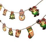 Luz de adorno de Navidad, 2.5 m/8.2 ft 20 LED Cadena de Navidad Precioso Árbol de Navidad Santa Claus Árbol de Navidad Calcetines Decoración Ornamento Impermeable Al Aire Libre Batería Luz Cadena