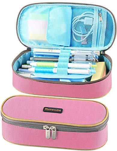 Homecube Estuche Escolar, Estuche de lápices con Cremallera para papelería de Oficina, útiles Escolares - Rosado