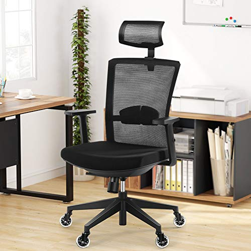 Ergonomic Office Chair, Tribesigns Desk Chair with 2D Adjustable Headrest High Back Task Chair with Lumbar Support, Blade Wheels, Mesh Computer Chair, Gaming Chairs, Executive Swivel Chair
