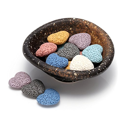Top Plaza Lava Rock Gemstone Aromatherapy Essential Oil Diffuser Set - Oval Shape Ceramic Incense Burner/Ware/Holder/Bowl With 14Pcs Heart Lava Stone Beads