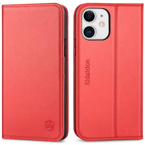 SHIELDON iPhone 12 Hülle, Stoßfeste Handyhülle iPhone 12 Pro [100prozent Rindsleder] [Lifetime Garantie] [Kartenfächer] [Magnetverschluss], TPU RFID Ledertasche Etui Kompatibel für iPhone 12/12 Pro 6,1 Rot