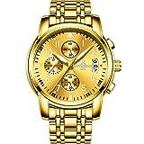 RXSHOUSH Reloj de hombre de cuarzo, reloj multifunción de acero con luz nocturna/calendario/cronógrafo/impermeable/despertador, correa de acero, reloj de negocios, regalo, seis colores dorados