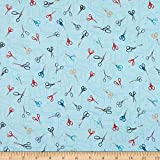 Andover/Makower UK Stitch in Time Scissors Blue Fabric by the Yard