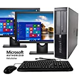 HP Elite Workstation, Intel Core i5 3.2 GHz, 8 GB RAM, 1 TB SATA HDD, Keyboard & Mouse, Wi-Fi, Dual 19' LCD Monitors (Brands Vary), DVD, Windows 10 Pro, (Renewed)