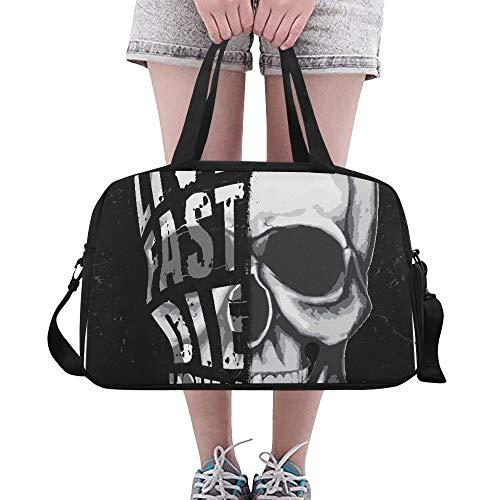 Plsdx American Rock Kopf Schädel benutzerdefinierte große Yoga Gym Totes Fitness Handtaschen Reise Seesäcke mit Schultergurt Schuhbeutel für Übung Sport Gepäck für Mädchen Frauen Frauen Outdoor