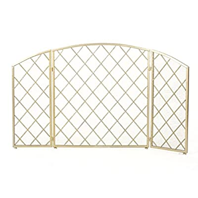 Christopher Knight Home Amiyah 3 Panelled Iron Fireplace Screen, Gold from GDF Studio