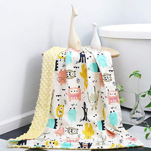 SYIDOOLE Baby Blanket, Receiving Blanket Super Soft Plush with Dotted Backing, Minky Swaddle Blanket for Nursery Crib, Stroller, Toddler Bed, Car seat, Yellow monsterPrinted,47