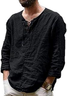 kewing T-Shirt a Maniche Lunghe in Lino di Cotone con Lacci Vintage T-Shirt in Lino Tinta Unita Casual da Uomo