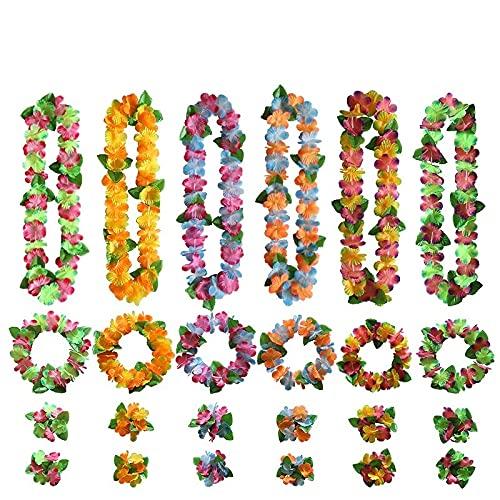 PPuujia Suministros de fiesta de cumpleaños hawaiano Leis Garland Artificial collar Hawaii Flores Leis Suministros de fiesta Playa Fun corona regalo Decoración (Color: 7)