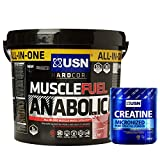 USN Muscle Fuel Anabolic 4 kg, Ultimate All-In-One shake,Supports Muscle Performance,Recovery and Growth,Free USN Creatine Monohydrate 500g 100 Servings (Strawberry)