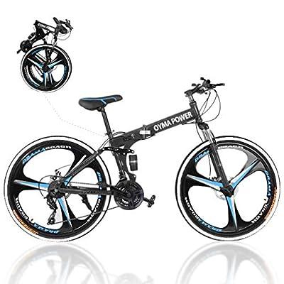 2020 New Mountain Bike 21 Speed 3 Spoke 26in Double Disc Brake Bicycle Folding Bike for Adult Teens Bicycle Full Suspension MTB Bikes Black