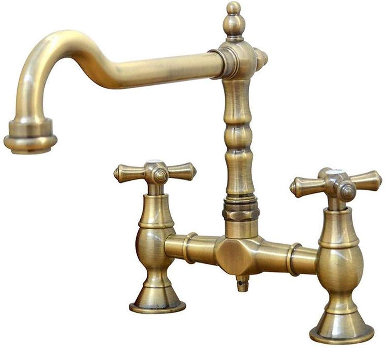 Retro Kitchen Hot and Cold Water 360 Degree redation Kitchen Sink Mixer Tap Cross Knobs Handles Antique Bronze