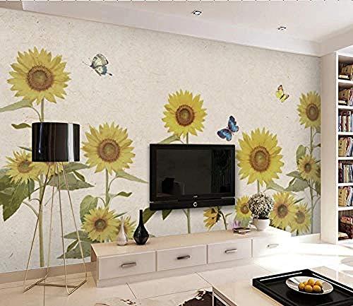 Papel pintado personalizado nórdico pintado a mano apasionado girasol jardín viento sofá TV fondo papeles de Pared Pintado Papel tapiz 3D Decoración dormitorio Fotomural sala sofá mural-430cm×300cm