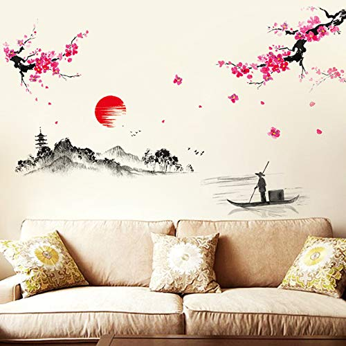 FSVGC Chinese Ink Landscape Stickers Landscape Wall Stickers Living Room Sofa Background Study Bedroom Sunset Distant Mountains