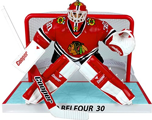 "NHL ED Belfour 6"" Player Replica Action Figure with Net, Chicago Blackhawks, Multi"