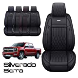 Aierxuan Customized for Chevrolet Chevy Silverado GMC Sierra Car Seat Covers Front Pair with Waterproof Faux Leather 2007-20211500/2500/3500HD Crew,Double,Extended Cab Pickup Truck(Black)